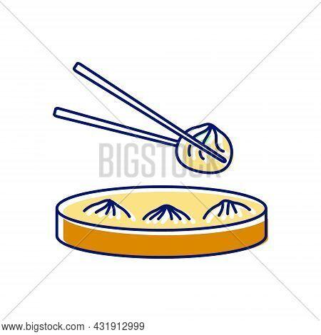 Soup Dumplings In Bamboo Basket Flat Icon. Steamed Xiao Long Ba. Taiwanese Cuisine. Oriental Custom.