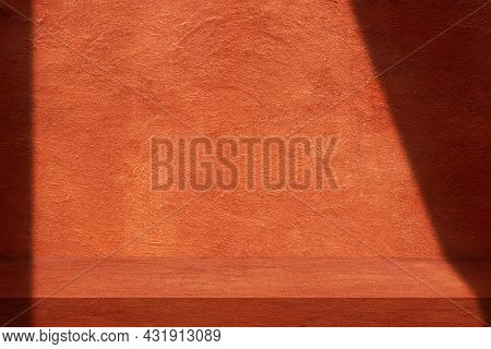 Empty Space Of Orange Clay Wall Grunge Texture Background For Show Product.