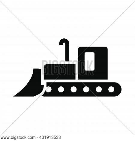 Icon Of Construction Bulldozer. Black Stencil Design. Vector Illustration.
