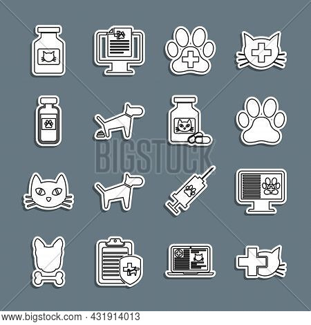 Set Line Veterinary Clinic, Clinical Record Pet On Monitor, Paw Print, Dog Pooping, Pets Vial Medica