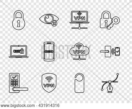 Set Line Digital Door Lock With Wireless, Bezier Curve, Vpn Computer Network, Shield, Lock, Mobile A