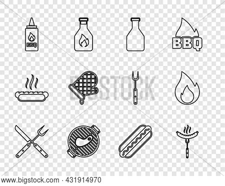 Set Line Crossed Fork And Knife, Sausage On The, Ketchup Bottle, Barbecue Grill With Steak, Oven Glo