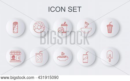 Set Line Ice Cream, Pizzeria Building Facade, Soda Drink With Donut, Can Drinking Straw, Burrito, Do
