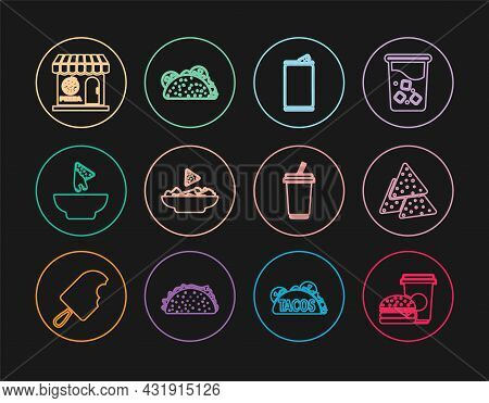 Set Line Coffee And Burger, Nachos, Aluminum Can, Plate, Pizzeria Building Facade, Glass With Water