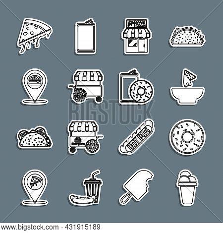 Set Line Ice Cream, Donut, Nachos In Plate, Pizzeria Building Facade, Fast Street Food Cart, Locatio
