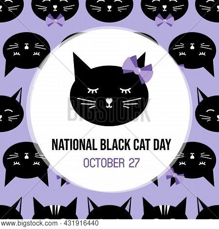 National Black Cat Day Greeting Card, Vector Illustration With Cute Cartoon Style Black Cat With Bow