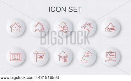 Set Line Hanging Sign With For Sale, House Plan, Under Protection, Man Dreaming About Buying House,
