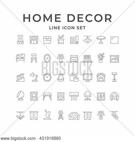 Set Line Icons Of Home Decor Isolated On White