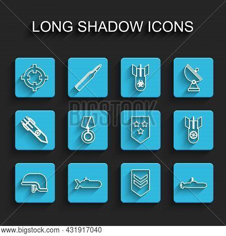 Set Line Military Helmet, Submarine, Target Sport, Chevron, Reward Medal, Nuclear Bomb And Icon. Vec