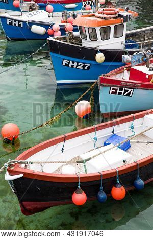 Coverack, Cornwall, Uk - July 1, 2021.close Up Of Traditional Cornish Fishing Boats Moored In A Harb