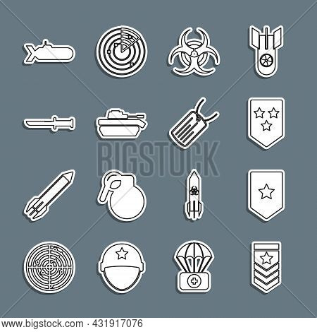 Set Line Chevron, Biohazard Symbol, Military Tank, Knife, Submarine And Dog Tag Icon. Vector