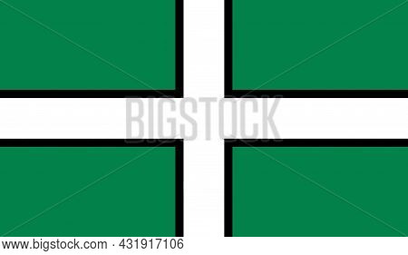 County Flag Of Devon That Represents The Devon County In The Uk