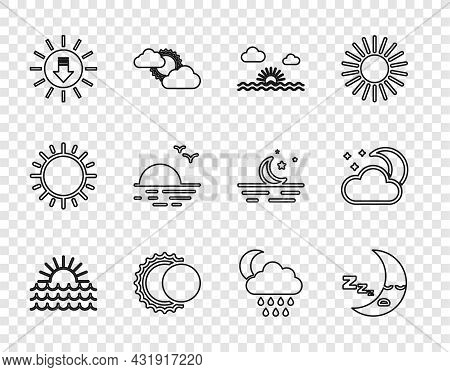 Set Line Sunset, Moon Icon, Eclipse Of The Sun, Cloud With Rain And Moon And Stars Icon. Vector