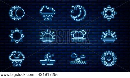 Set Line Sun, Sunset, Moon And Stars, Eclipse Of The Sun, Cloud And With Rain Icon. Vector