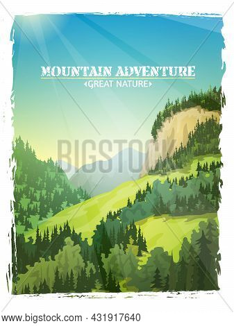 Mountains Sunny Green Slopes Landscape Design Travel Outdoor Adventures Background Poster Abstract I