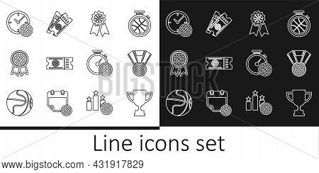 Set Line Award Cup, Basketball Medal, Award, Game Ticket, Clock With Basketball, Stopwatch And Icon.