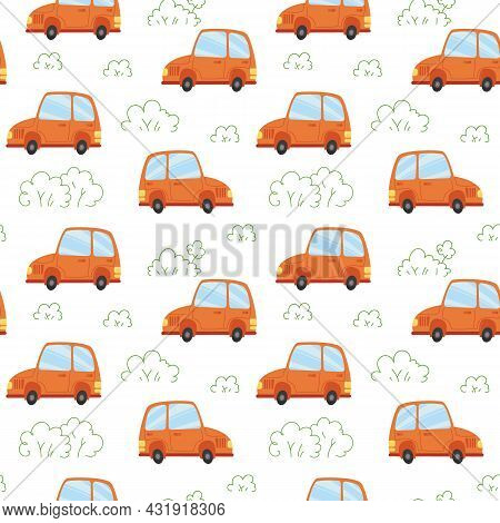 Seamless Pattern With Cartoon Orange Cars On A White Background. Vector Illustration In Minimalistic