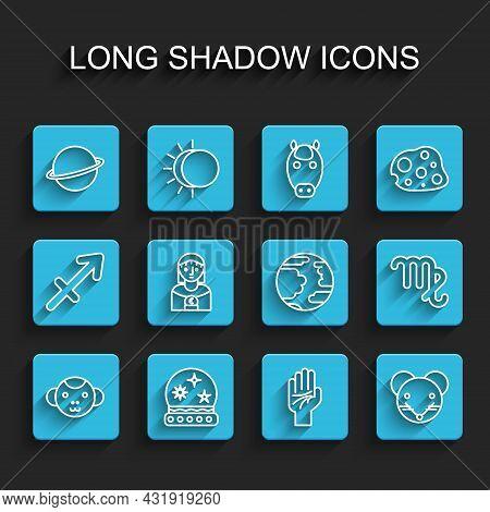 Set Line Monkey Zodiac, Magic Ball, Planet Saturn, Palmistry Of The Hand, Rat, Astrology Woman, Virg