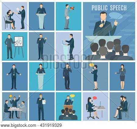 Public Speaking To Live Audience Workshops And Presentations Set Blue Background Flat Icons Set Abst