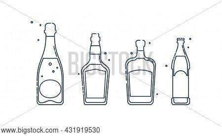 Bottle Whiskey Champagne Liquor Beer Line Art In Flat Style. Restaurant Alcoholic Illustration For C