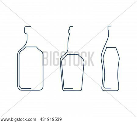 Bottle Continuous Line Rum, Vermouth And Whiskey In Linear Style On White Background. Solid Black Th