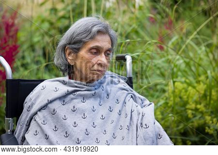 Old Indian Woman Sitting In A Wheelchair In A Uk Garden, Looking Sad Or Depressed. Depicts Elderly M