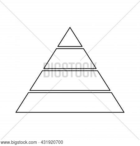 Pyramid Line Icon For Infographics. Triangle Outline With 4 Levels. Hierarchy Design Graphic Element