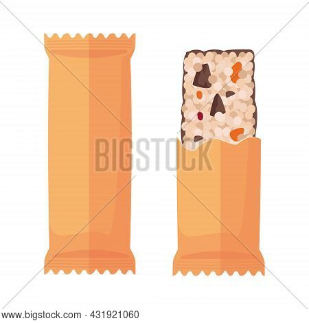 Muesli Bar In Eco Paper Packaging And Without It, A Healthy Homemade Snack With Dark Chocolate Piece