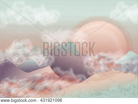 Delicate Pastel Painting Of A Mountain Landscape With Clouds And A Big Moon. Vector Panorama Stylize