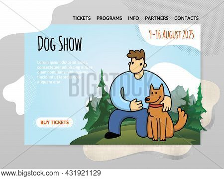Dog Show, Exhibition Or Dog Training Courses. A Young Man With His Dog On The Background Of A Mounta