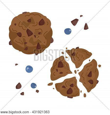 Set Of Freehand Drawings Of Chocolate Oatmeal Cookies Whole And Broken. Cartoon Kids Dessert Illustr