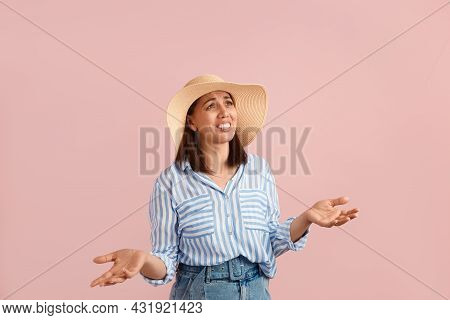 What Is That. Puzzled Disappointed Woman With Dark Hair Explicitly Throws Hands, Can't Believe She F