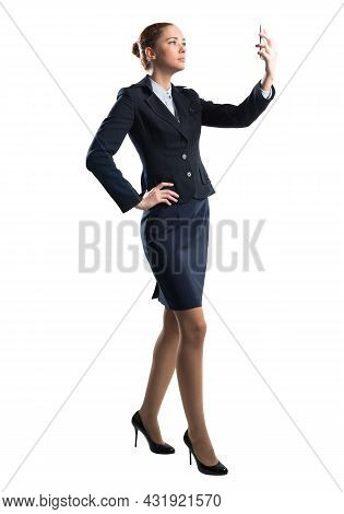 Young Beautiful Woman Taking Selfie Photo With Smartphone. Confident And Stylish Businesswoman In Da