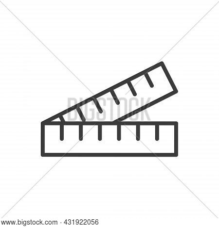 Folding Ruler Line Icon. Measure Outline Instrument. Vector Illustration Isolated