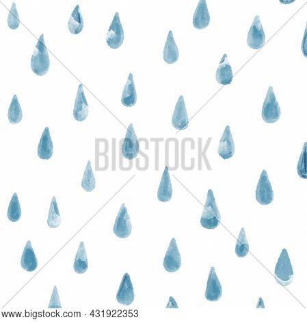 Rain Drops Falling. Raindrops Pattern Blue Background