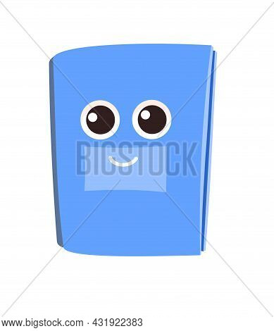 Blue Book Or Notebook. Isolated On White Background. Cheerful Cute Cartoon Character. Childrens Desi