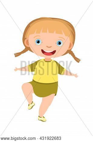 Child Funny. Little Girl. In Yellow Clothes. Kid Jumps For Joy. Charming Active Cute Character. Cute