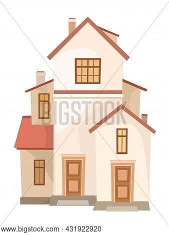 High Cartoon House With An Attic. Cozy Simple Rural Dwelling In A Traditional European Style. Sweet