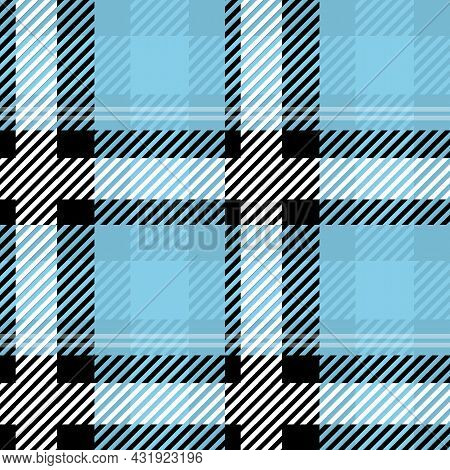 Vector Plaid Blue Color Check Seamless Pattern In Geometric Abstract Style Can Be Used For Teen Fash
