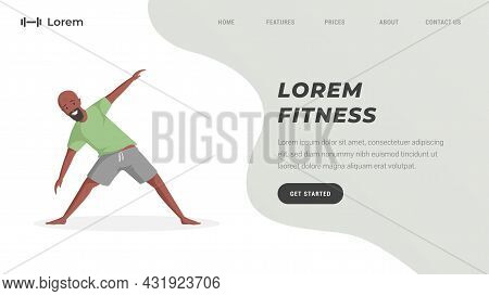 Fitness Studio Or Online Workout Training Landing Page Template With Text Space. Smiling Man Stretch
