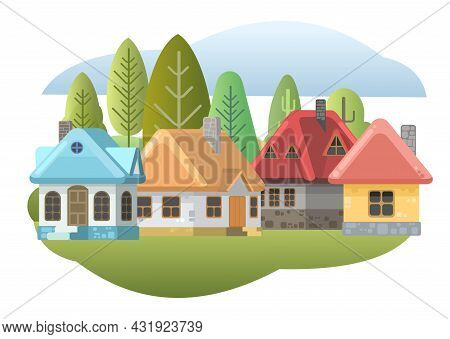 Fairy Tale Illustration For Children. Small Cozy Rural Houses. Funny Cartoon Style. Country Suburban