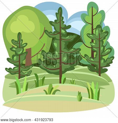 Flat Forest. Illustration In A Simple Symbolic Style. Funny Pine Green Landscape. Isolated. Comic Ca