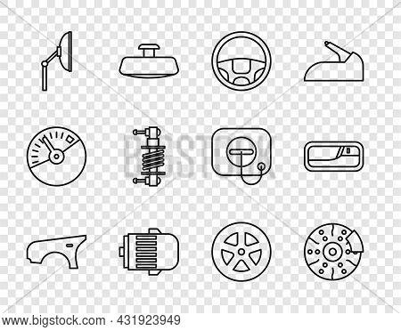 Set Line Car Fender, Brake Disk With Caliper, Steering Wheel, Electric Engine, Windscreen Wiper, Sho