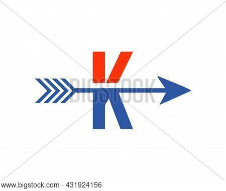 Financial Logo With K Letter Upward Arrow Concept. Initial K Letter Financial Marketing, Business An