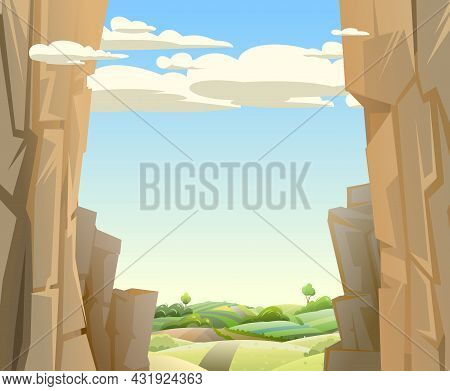 Mountain Gorge. Frame Composition. Rural Hills With Road. Stone Rocky Rocky Landscape. High Peaks An