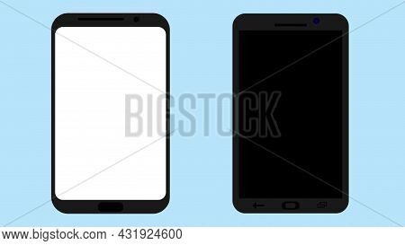Smartphone With Blank Screen. Isolated Mobile Phone Mockup. White And Black. Smartphone Mockup For S