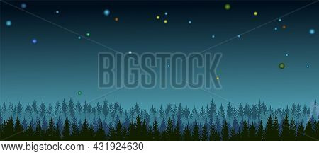 Pine Forest At Night. Silhouettes Of Coniferous Trees In The Darkness. Dark Landscape Horizontally.