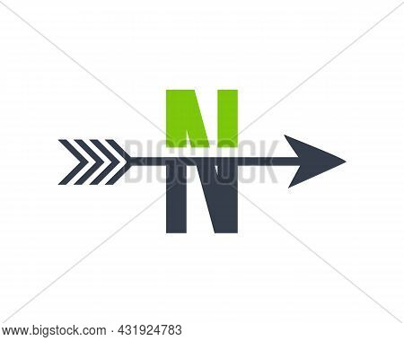 Financial Logo With N Letter Upward Arrow Concept. Initial N Letter Financial Marketing, Business An