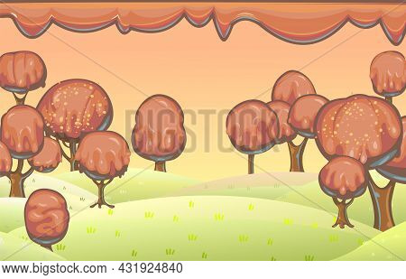 Chocolate Trees Landscape. Fairy Tale Garden. Summer Fantasy Scene. Perspiration. Cartoon Style. Sky