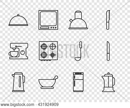 Set Line Kettle With Handle, French Press, Mortar Pestle, Covered Tray, Gas Stove, Refrigerator And